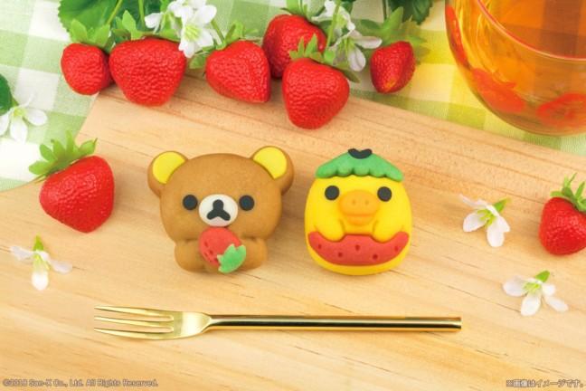 """リラックマと春を楽しむ!15周年を迎えるリラックマが""""1・5""""の語呂合わせの""""苺""""をテーマにしたキュートな和菓子になっちゃった♪"""