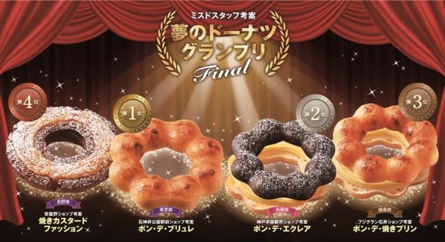 ミスタードーナツの夢のドーナツ発売!「夢のドーナツグランプリ」の上位4位に選ばれたドーナツが全店舗で楽しめる♪