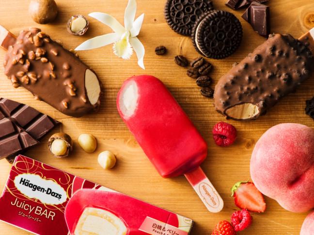 ハーゲンダッツ新シリーズ「アイスクリームバー」!果実感が美味しいジューシーバー『白桃&ベリー』など3品同時に新発売♪